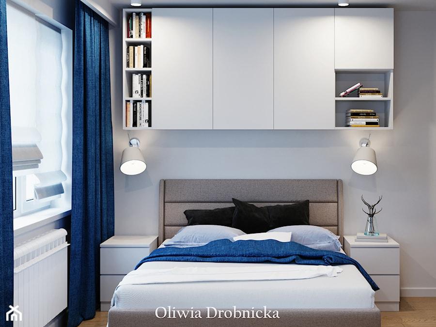 Projekt mieszkania na Śląsku - Mała biała sypialnia małżeńska, styl nowoczesny - zdjęcie od Projektowanie Wnętrz Oliwia Drobnicka