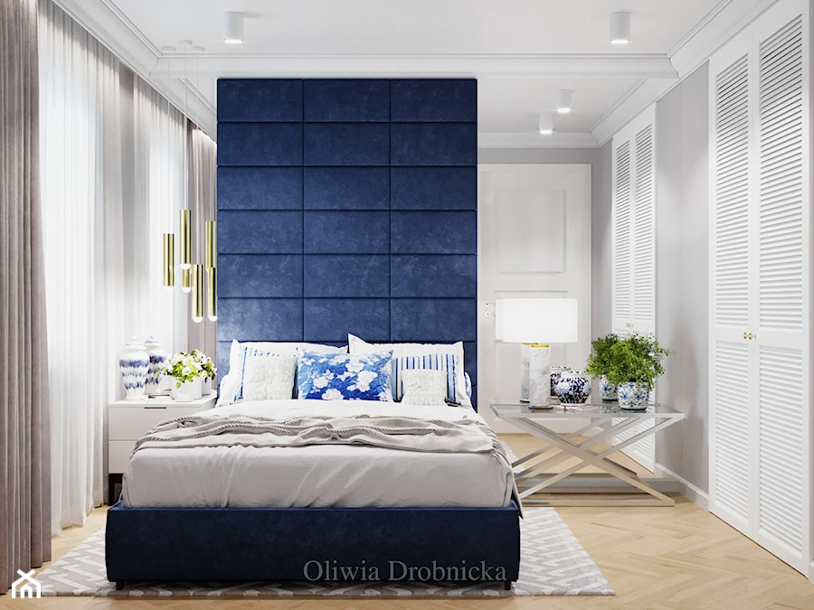 Klasyczna elegancja w nowoczesnym wydaniu - Średnia szara sypialnia małżeńska, styl klasyczny - zdjęcie od Projektowanie Wnętrz Oliwia Drobnicka