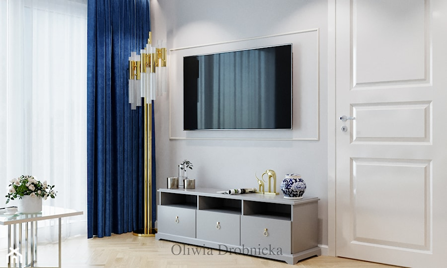 Klasyczna elegancja w nowoczesnym wydaniu - Mały szary salon, styl klasyczny - zdjęcie od Projektowanie Wnętrz Oliwia Drobnicka