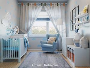 Projekt mieszkania na Śląsku - Mały szary pokój dziecka dla chłopca dla dziewczynki dla niemowlaka, styl nowoczesny - zdjęcie od Projektowanie Wnętrz Oliwia Drobnicka