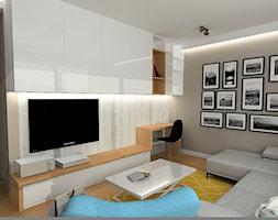 Mieszkanie w stylu nowojorskim - Mały szary salon, styl nowoczesny - zdjęcie od Projektowanie wnętrz Berenika Szewczyk