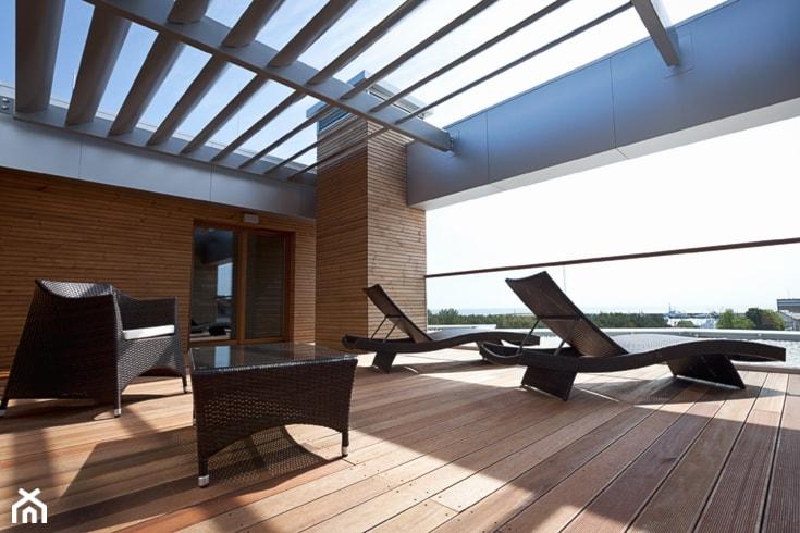 części wspólne Apart Hotel Gwiazda Morza Władysławowo 2014 - Taras, styl nowoczesny - zdjęcie od Pszczołowscy projektowanie wnętrz