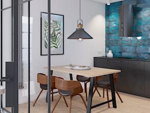 mieszkanie na wynajem, Sopot - Średnia biała niebieska kuchnia jednorzędowa w aneksie, styl industrialny - zdjęcie od Pszczołowscy projektowanie wnętrz