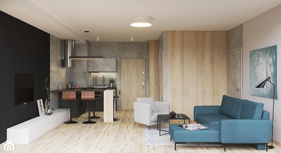 """Apartament """"Szkwał"""" - Salon, styl nowoczesny - zdjęcie od Pszczołowscy projektowanie wnętrz"""