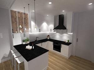 Kuchnia z płytkami Paradyż - Duża otwarta biała kuchnia w kształcie litery u w aneksie, styl eklektyczny - zdjęcie od Zuzanna Sikora Architekt Wnętrz