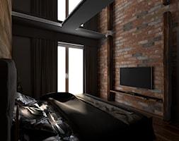 Mieszkanie inspirowane stylem industrialnym - Średnia czarna sypialnia małżeńska, styl rustykalny - zdjęcie od Archikąty - Homebook
