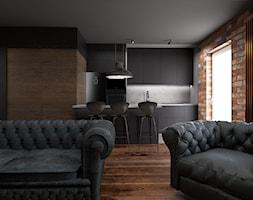 Mieszkanie inspirowane stylem industrialnym - Średnia szara brązowa kuchnia dwurzędowa w aneksie z wyspą z oknem, styl industrialny - zdjęcie od Archikąty - Homebook