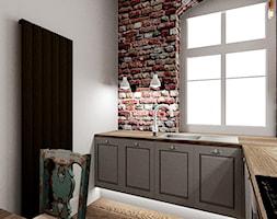 Mieszkanie w poznańskiej kamienicy - Średnia zamknięta biała kuchnia w kształcie litery l z oknem, styl rustykalny - zdjęcie od Archikąty - Homebook