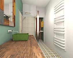 Mieszkanie w poznańskiej kamienicy - Średnia biała łazienka w bloku w domu jednorodzinnym bez okna, styl kolonialny - zdjęcie od Archikąty - Homebook