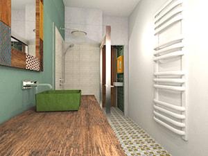 Mieszkanie w poznańskiej kamienicy - Średnia biała łazienka w bloku w domu jednorodzinnym bez okna, styl kolonialny - zdjęcie od Archikąty