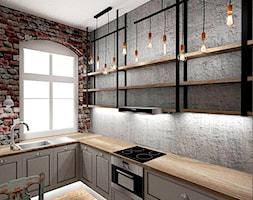 Mieszkanie w poznańskiej kamienicy - Średnia zamknięta szara kuchnia w kształcie litery l z oknem, styl rustykalny - zdjęcie od Archikąty - Homebook