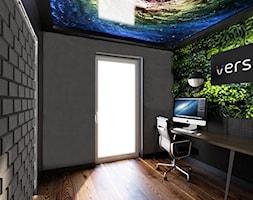Mieszkanie inspirowane stylem industrialnym - Małe szare biuro kącik do pracy, styl nowoczesny - zdjęcie od Archikąty - Homebook