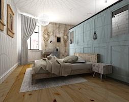 Mieszkanie w poznańskiej kamienicy - Średnia biała niebieska sypialnia małżeńska, styl eklektyczny - zdjęcie od Archikąty - Homebook