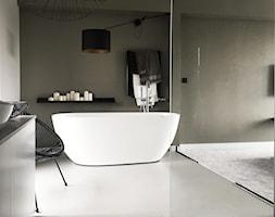 Dom pod Łodzią - Średnia brązowa szara łazienka w bloku w domu jednorodzinnym bez okna, styl minimalistyczny - zdjęcie od Archikąty - Homebook