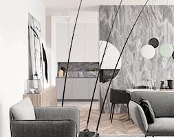 PROJEKT APARTAMENTU W WARSZAWIE KOLONIA SIELCE - Średni biały salon z kuchnią, styl nowoczesny - zdjęcie od HATCH STUDIO - Homebook