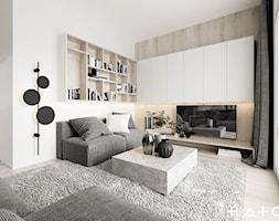 PROJEKT DOMU ŁÓDŹ ZŁOTNO - Średni biały salon, styl skandynawski - zdjęcie od HATCH STUDIO - Homebook