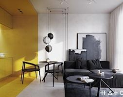PROJEKT KAWALERKI - WARSZAWA MURANÓW - Mały biały salon z kuchnią z jadalnią, styl minimalistyczny - zdjęcie od HATCH STUDIO