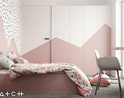 PROJEKT DOMU ŁÓDŹ ZŁOTNO - Średni biały różowy pokój dziecka dla dziewczynki dla ucznia dla nastolat ... - zdjęcie od HATCH STUDIO - Homebook
