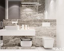 PROJEKT APARTAMENTU W WARSZAWIE KOLONIA SIELCE - Mała szara łazienka w bloku w domu jednorodzinnym b ... - zdjęcie od HATCH STUDIO - Homebook