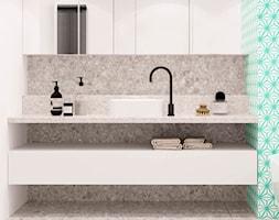 PROJEKT APARTAMENTU W WARSZAWIE KOLONIA SIELCE - Mała biała szara zielona łazienka w bloku w domu je ... - zdjęcie od HATCH STUDIO - Homebook