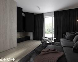 PROJEKT SZEREGOWCA - GDANSK BANINO - Mały szary brązowy salon, styl minimalistyczny - zdjęcie od HATCH STUDIO