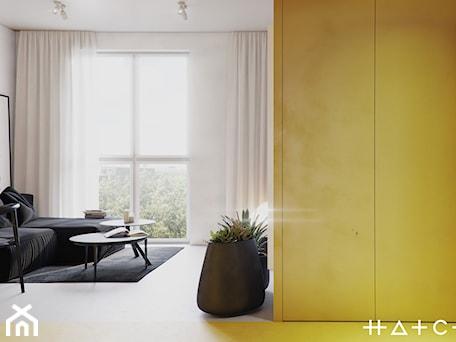 Aranżacje wnętrz - Salon: PROJEKT KAWALERKI - WARSZAWA MURANÓW - Mały biały salon, styl minimalistyczny - HATCH STUDIO. Przeglądaj, dodawaj i zapisuj najlepsze zdjęcia, pomysły i inspiracje designerskie. W bazie mamy już prawie milion fotografii!