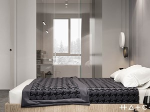 PROJEKT APARTAMENTU W WARSZAWIE KOLONIA SIELCE - Mała szara sypialnia z łazienką, styl nowoczesny - zdjęcie od HATCH STUDIO