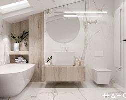 PROJEKT DOMU ŁÓDŹ ZŁOTNO - Średnia łazienka na poddaszu w bloku w domu jednorodzinnym z oknem, styl ... - zdjęcie od HATCH STUDIO - Homebook