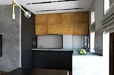 minimalistyczna kuchnia z drewnianym rzędem szafek wiszących
