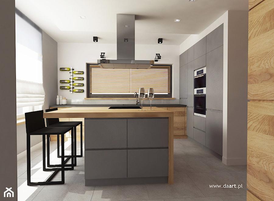 Kuchnia w szarości i drewnie  zdjęcie od Daart -> Mala Kuchnia W U