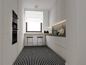 Dom w Poznaniu - Średnia zamknięta biała kuchnia w kształcie litery u w aneksie z oknem, styl nowoczesny - zdjęcie od Żaneta Strażyńska