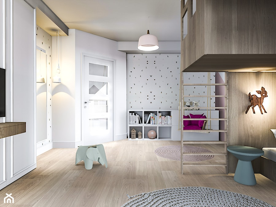 Pokój sióstr - Średni biały pokój dziecka dla chłopca dla dziewczynki dla malucha dla nastolatka, styl nowoczesny - zdjęcie od Żaneta Strażyńska