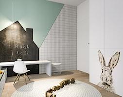Dom w Poznaniu - Mały szary zielony czarny pokój dziecka dla chłopca dla dziewczynki dla ucznia dla malucha dla nastolatka, styl nowoczesny - zdjęcie od Żaneta Strażyńska