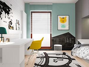 Dom w Poznaniu - Mały biały szary miętowy czarny pokój dziecka dla chłopca dla ucznia dla nastolatka, styl nowoczesny - zdjęcie od Żaneta Strażyńska