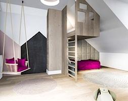 Pokój sióstr - Duży szary beżowy czarny pokój dziecka dla dziewczynki dla malucha dla nastolatka, styl nowoczesny - zdjęcie od Żaneta Strażyńska
