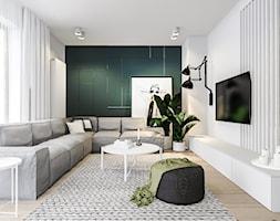 Dom w Poznaniu - Średni biały zielony salon, styl nowoczesny - zdjęcie od Żaneta Strażyńska
