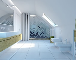 łazienka Osowa - Duża biała kolorowa łazienka na poddaszu w domu jednorodzinnym z oknem, styl nowoczesny - zdjęcie od em2pracownia