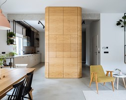 Mieszkanie w Gdyni - Średni biały salon z kuchnią z jadalnią - zdjęcie od em2pracownia - Homebook