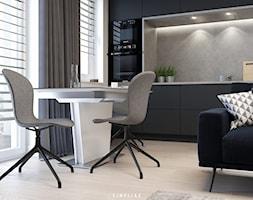 """MĘSKA """"JASKINIA"""" - Mała otwarta biała kuchnia jednorzędowa w aneksie z oknem, styl minimalistyczny - zdjęcie od SIMPLIKA"""