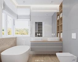 190 METRÓW DOMU NA WAWRZE - Średnia szara łazienka w bloku w domu jednorodzinnym z oknem, styl nowo ... - zdjęcie od SIMPLIKA - Homebook