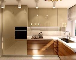 KUCHNIE PROJEKTY - Duża zamknięta biała kuchnia jednorzędowa z oknem, styl nowoczesny - zdjęcie od Alina Mokrzycka Architekt / Wnętrza / Grafika