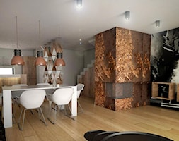 Dom Podróżniczki - Średnia otwarta kolorowa jadalnia w salonie, styl industrialny - zdjęcie od Alina Mokrzycka Architekt / Wnętrza / Grafika