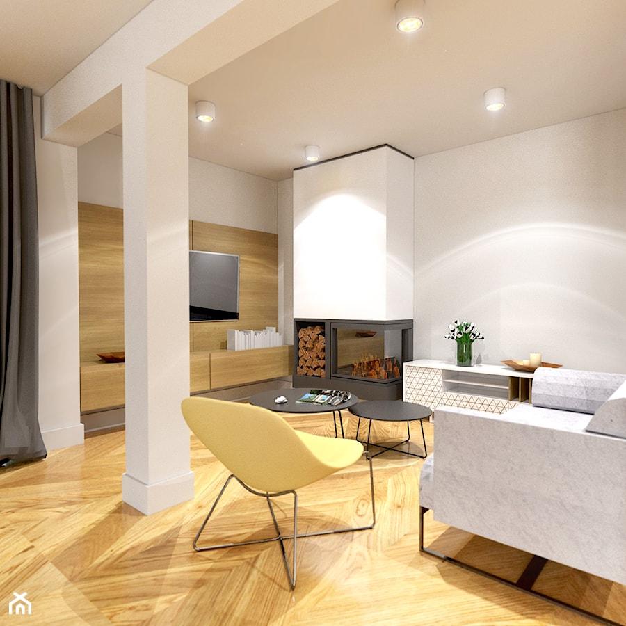 Dom w Krakowie - Średni biały salon, styl nowoczesny - zdjęcie od Alina Mokrzycka Architekt / Wnętrza / Grafika