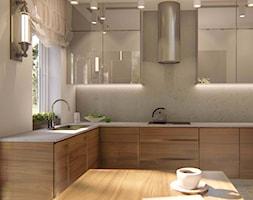 KUCHNIE PROJEKTY - Średnia zamknięta szara kuchnia w kształcie litery l z wyspą z oknem, styl nowoczesny - zdjęcie od Alina Mokrzycka Architekt / Wnętrza / Grafika