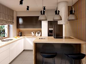KUCHNIE PROJEKTY - Średnia otwarta beżowa szara kuchnia w kształcie litery l z wyspą z oknem, styl minimalistyczny - zdjęcie od Alina Mokrzycka Architekt / Wnętrza / Grafika
