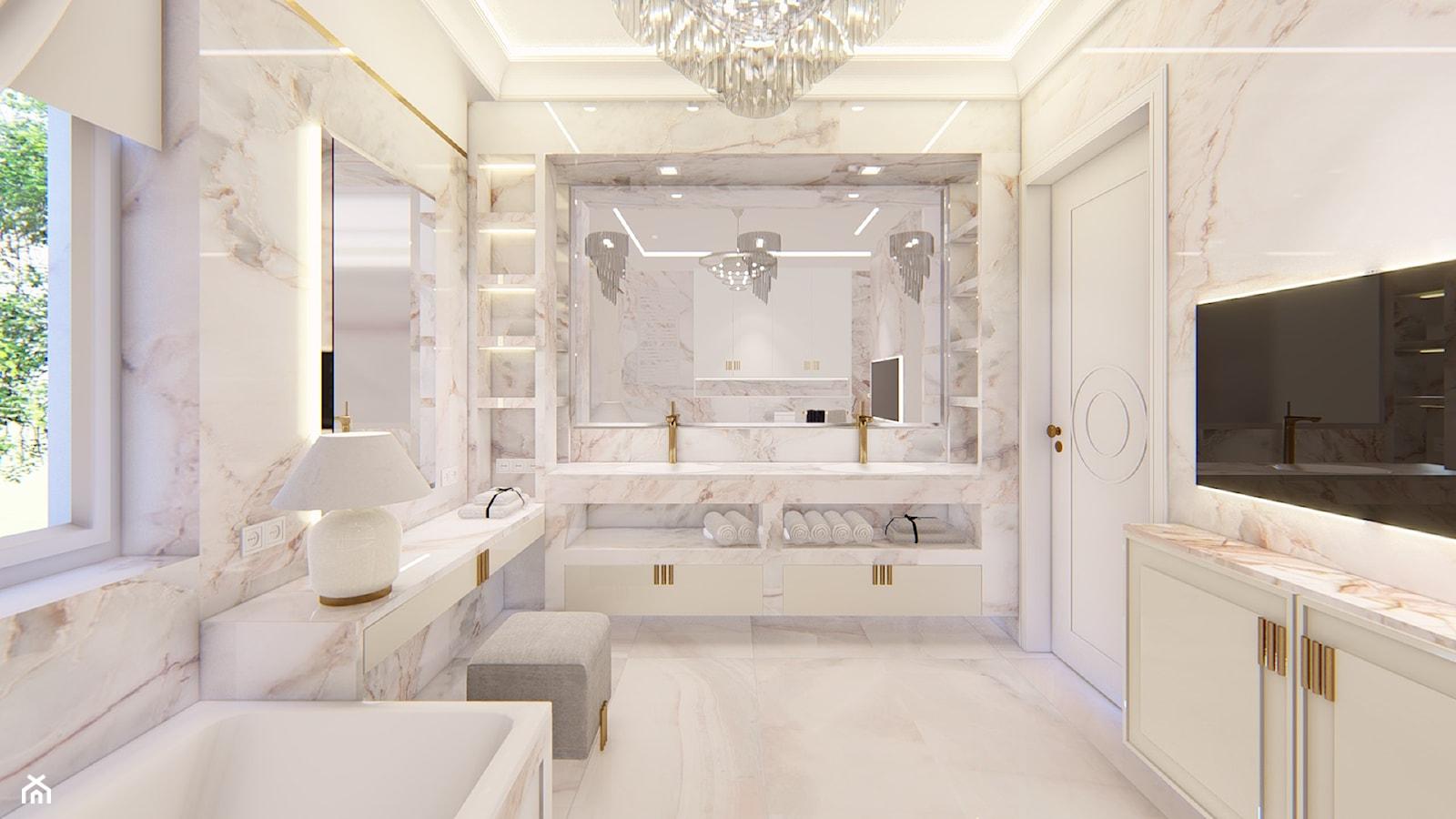 lazienka klasyczna z marmurem i kwarcytem - zdjęcie od Alina Mokrzycka Architekt / Wnętrza / Grafika - Homebook