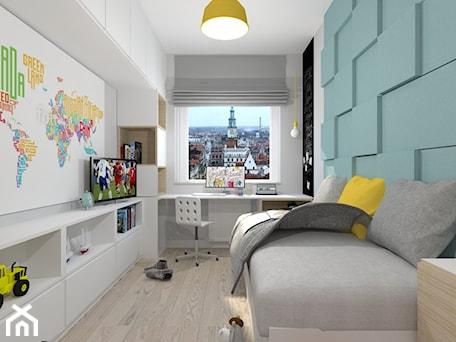salon i pokój dziecka - Mały biały szary niebieski pokój dziecka dla chłopca dla dziewczynki dla ucznia dla malucha dla nastolatka, styl nowoczesny - zdjęcie od moolo studio