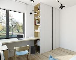 dom jednorodzinny w Legionowie - Średnie białe biuro kącik do pracy w pokoju, styl nowoczesny - zdjęcie od INSIDEarch