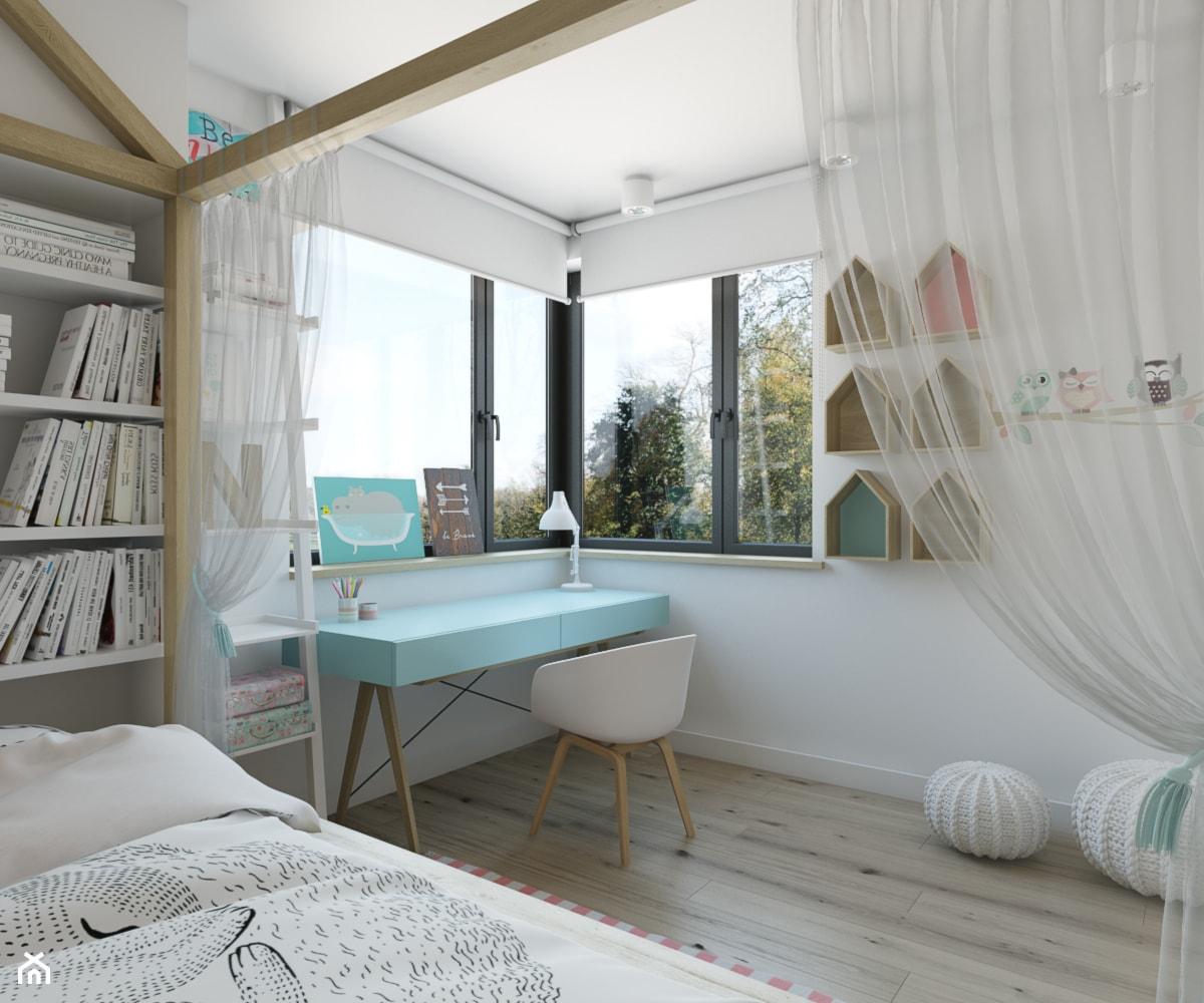 dom jednorodzinny w Legionowie - Średni biały pokój dziecka dla dziewczynki dla ucznia dla malucha, ... - zdjęcie od INSIDEarch - Homebook