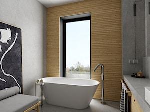 dom pasywny w Nałęczowie - Średnia szara łazienka na poddaszu jako salon kąpielowy z oknem, styl industrialny - zdjęcie od INSIDEarch